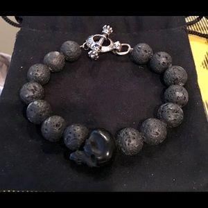 """King Baby Lava Bead Skull Bracelet 10mm 8.5"""""""